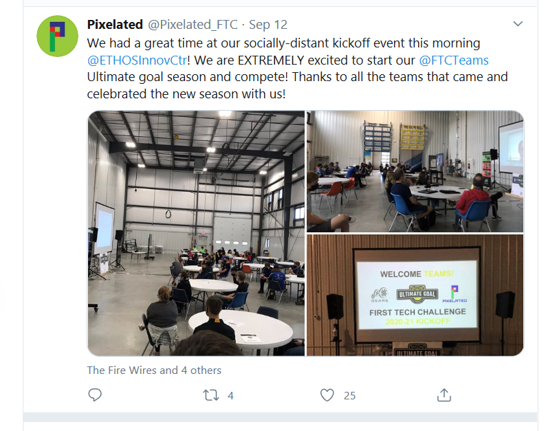 """We had a great time at our social-distant kickoff event this morning @ETHOSnnovCtr! We are EXTREMELY excited to start our @FTCTeams Ultimate goal season and compete! Thanks to all the teams that came and celebrated the new season with us!"" - Pixelated, FTC Team 12835"